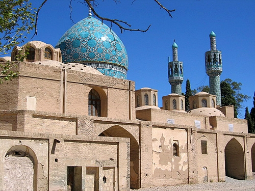 iran-mosque-dome-blue-brown, masjid di Iran, masbadar.com