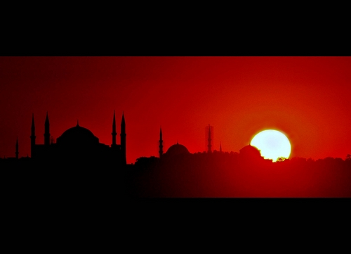 istanbul-turkey-mosque-sunset-red, masjid di turki, masbadar.com